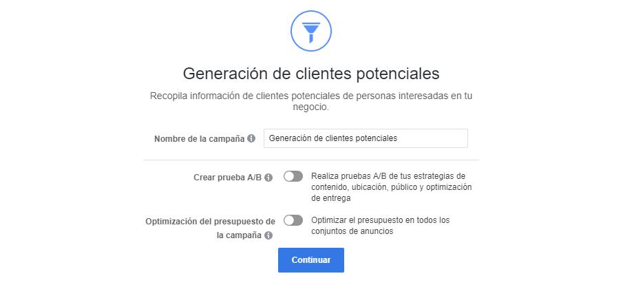 test A/B clientes potenciales fb ads