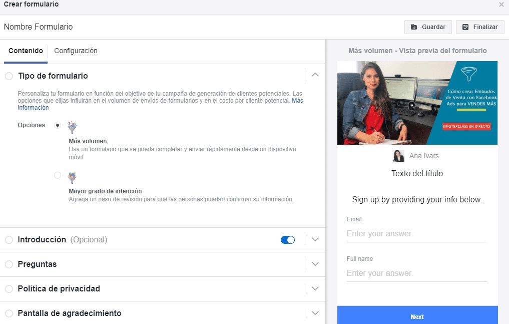 crear un formulario clientes potenciales en facebook ads